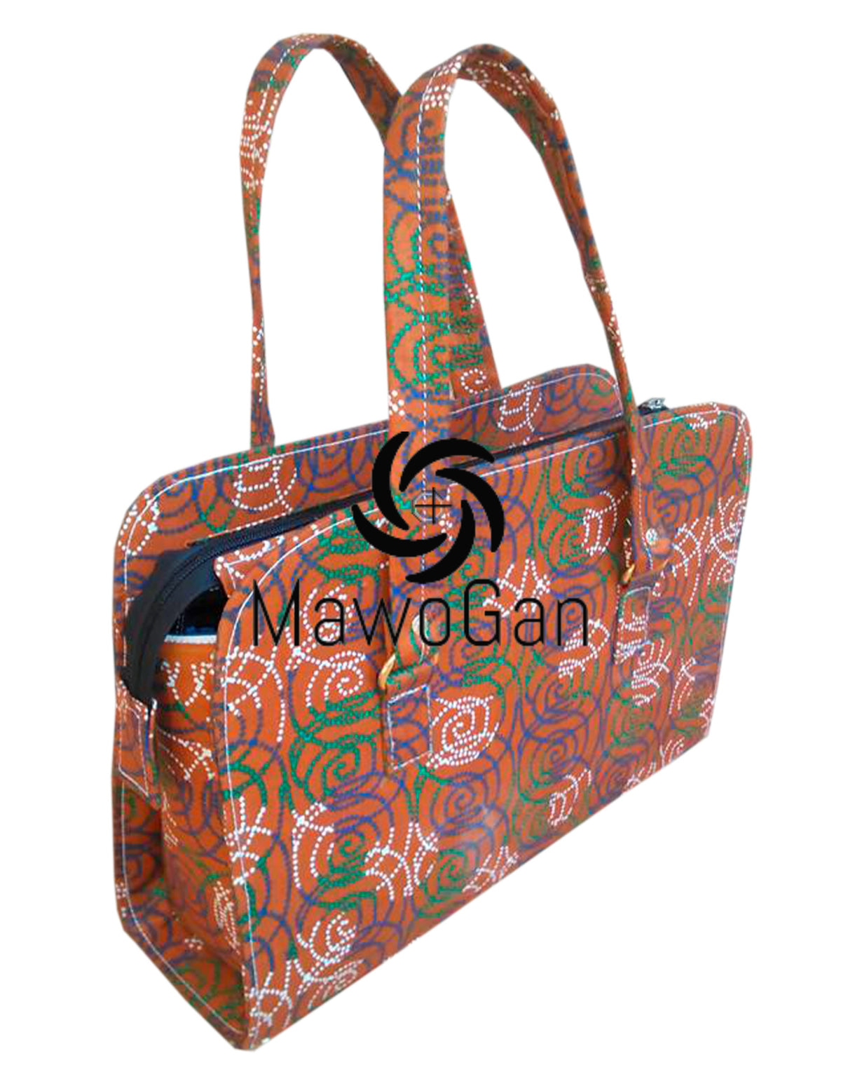 Wood Handle Square African bag Togo Fabric