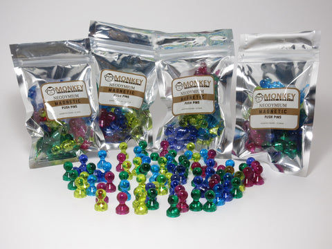 100 Pack Translucent Magnetic Push Pins