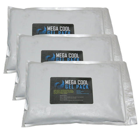 Mega Cool Gel Packs - 3 X-Large Reusable Cooler Ice Packs, Over 12 Pounds of Reusable Ice