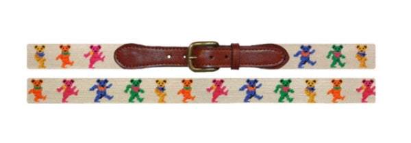 Dancing Bears Oatmeal Needlepoint Belt