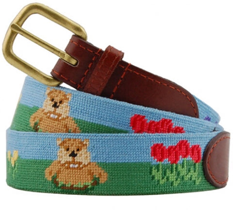 Gopher Golf Needlepoint Belt