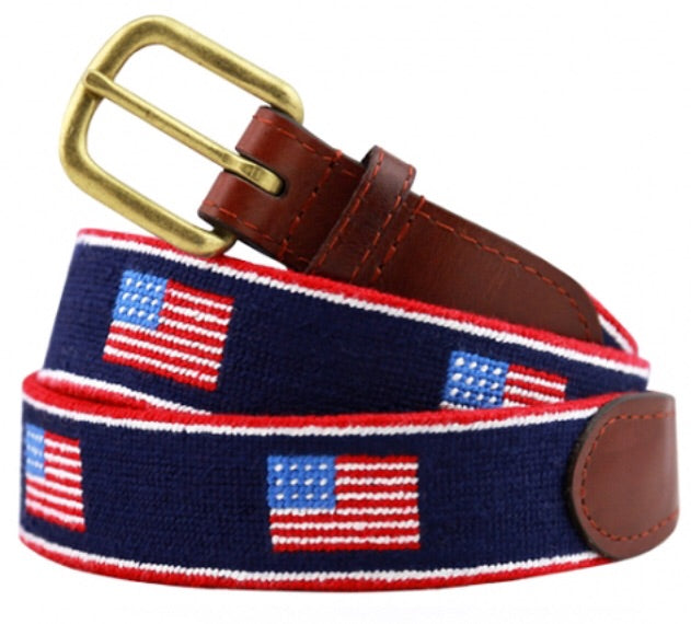 American Flag Stripe Needlepoint Belt