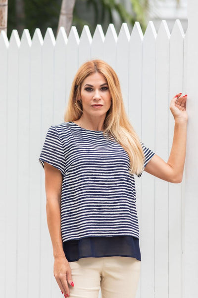 Two Tone Blouse Marine Navy Jean-Pierre Klifa