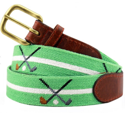 Crossed Clubs Needlepoint Belt