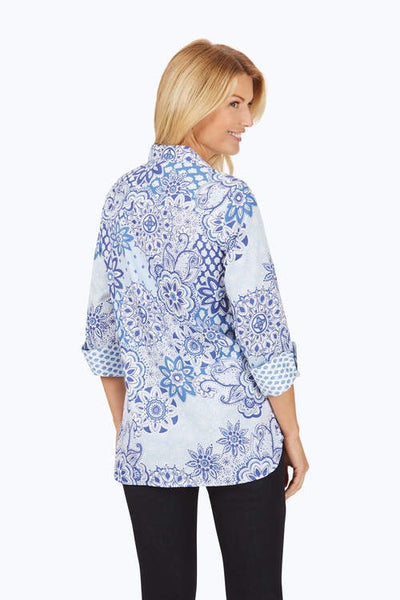Foxcroft Poppy Wrinkle-Free Flowing Tiles Tunic