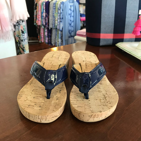 Eliza B Navy Cork Wedge