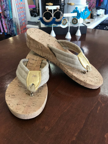 Eliza B Gold Raffia Cork Wedge
