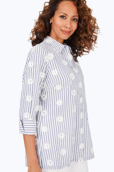Foxcroft Libby Embroidered Stripe Tunic