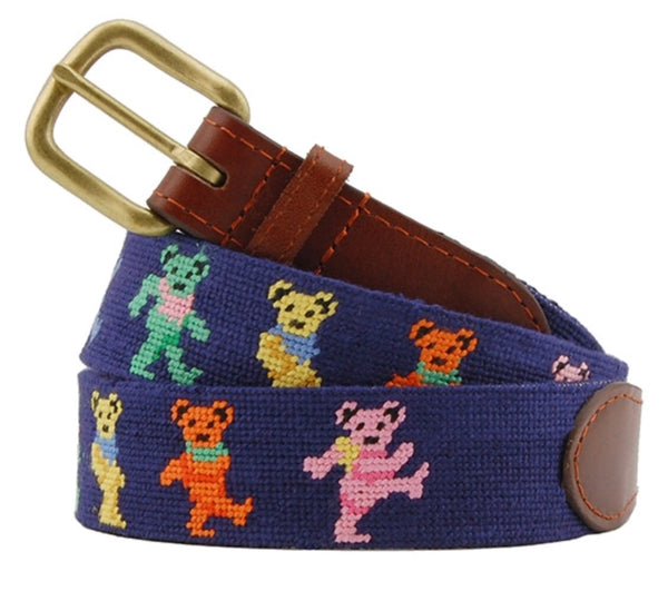 Dancing Bears Navy Needlepoint Belt