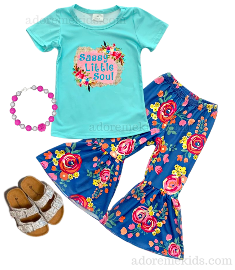 Sassy Little Soul Girls Boutique Outfit - Fall Bell Bottom Girls  Pants Set - Boutique Clothes for Baby, Toddler and Kids ul