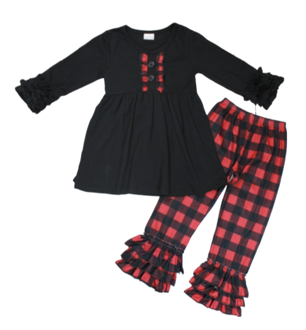 Buffalo Plaid Check Flannel Girls Boutique Fall Clothing Long Sleeve Outfit for Baby, Toddler and Kids