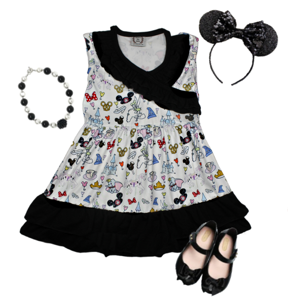 Disney Mickey Minnie Girls Boutique Dress - Disney World Girls Boutique Outfit - Dumbo, Tinkerbell, Tea Cups and more!