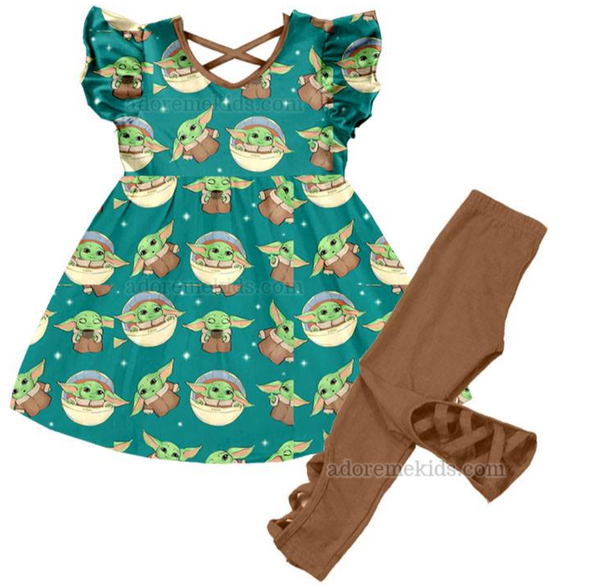 Baby Yoda Girls Outfit  - Star Wars Girls Clothes - Matching Boutique Set