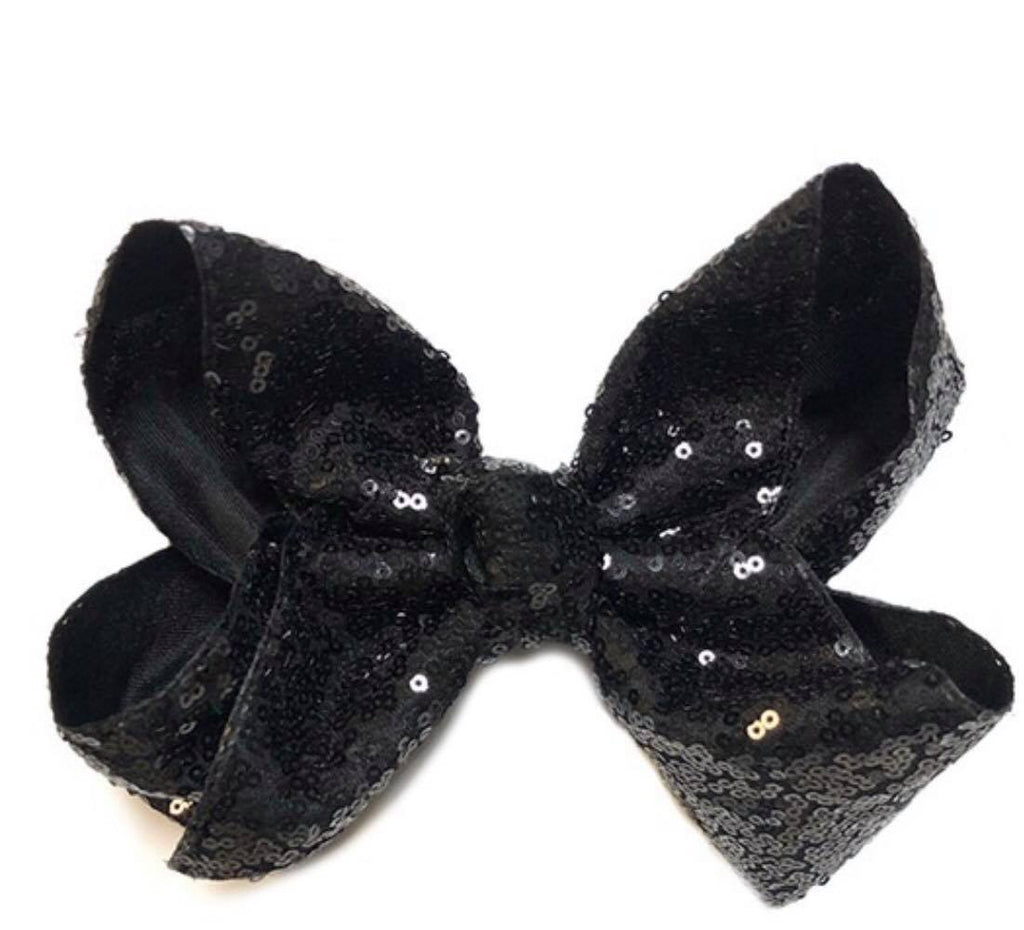 "Sequins Girls Hair Bow - Big Single 7.5"" Bow Boutique"