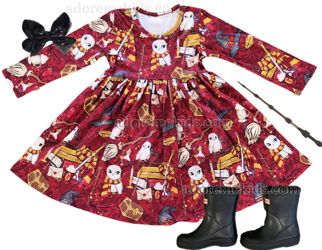 Harry Potter Girls Dress - Long Sleeve Fall Winter Wizard Boutique Clothes for Baby and Toddlers with  Ron, Hermione, and Dumbledore