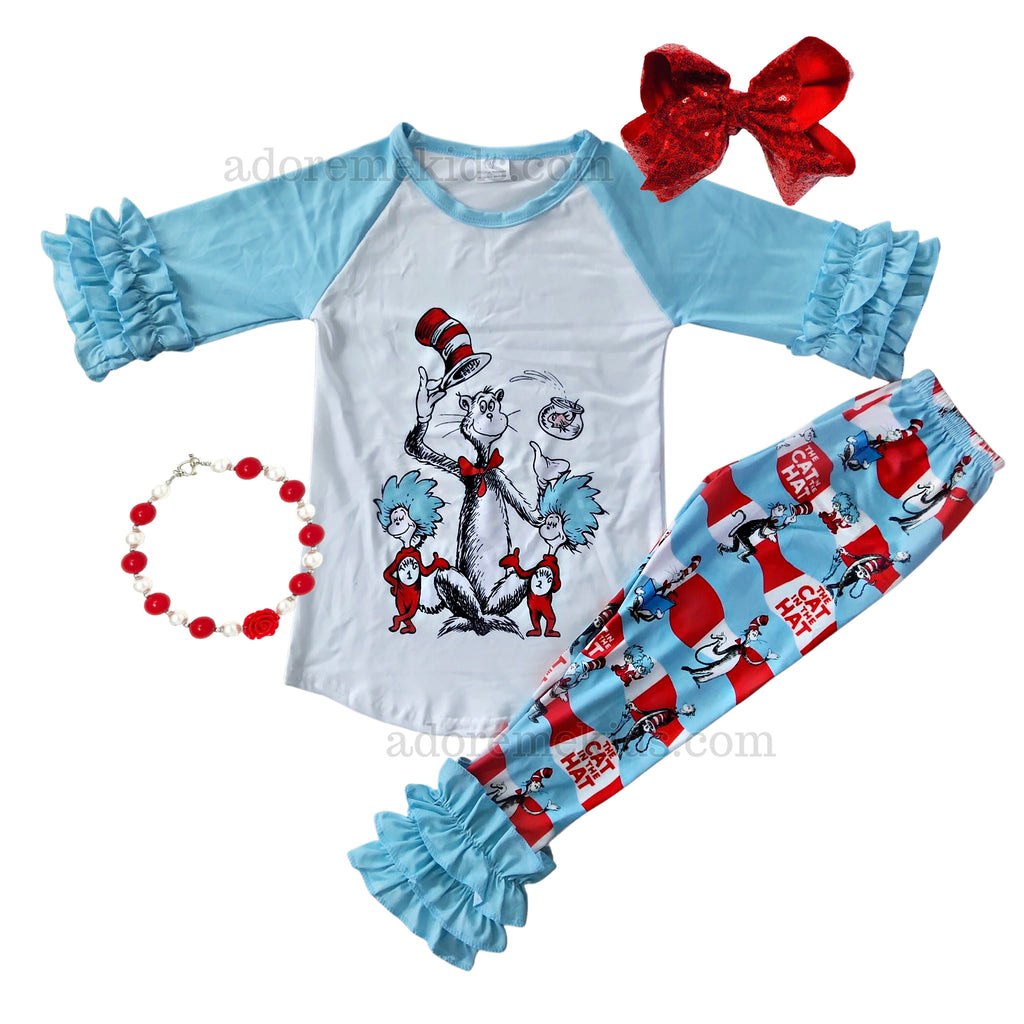 Dr. Seuss Girls Outfit - Fall Ruffle Cat in the Hat Girls Pants Set - Thing 1 Boutique Clothes for Baby, Toddler and Kids