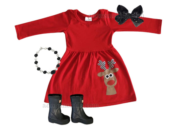 Christmas Reindeer Girls Dress - Christmas Rudolph Boutique Girls Dress Matching - Red Reindeer Matching Clothes for Baby and Toddlers
