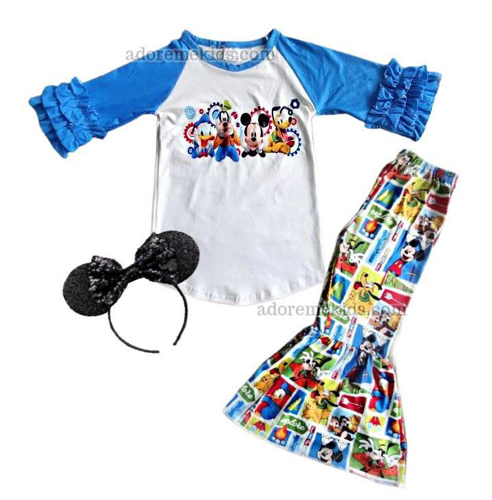 Mickey Mouse Girls Outfit - Disney Clubhouse Bell Bottom Pants set - Boutique Fall Winter Clothes for Baby Toddler