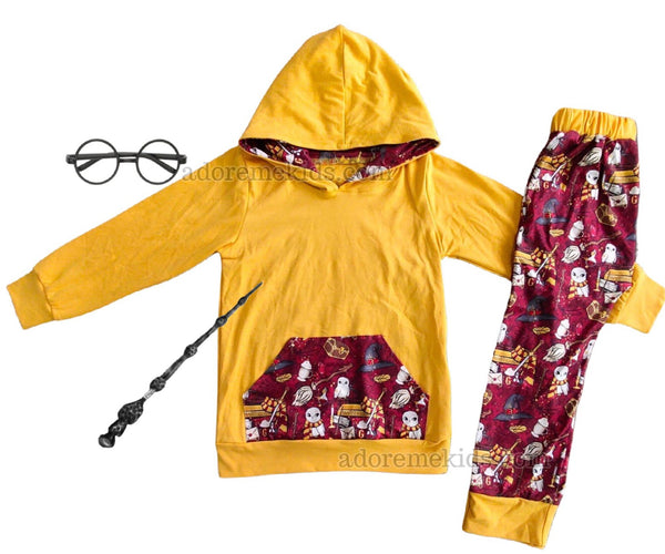 Harry Potter Boys Outfit - Winter Fall Hoodie Pants Set- Harry Potter Owl Magic Boys Outfit Clothes Set