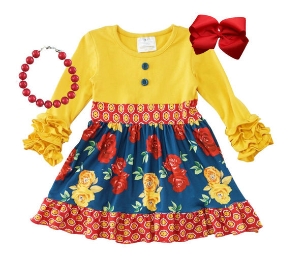 Mustard Flower Fall Girls Dress - Boutique Long Sleeve Mustard Dress - Thanksgiving Winter Clothes for Baby and Toddlers