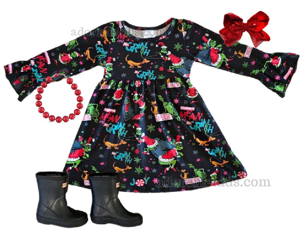 Grinch Girls Dress - Christmas Grinch Dr. Seuss Outfit - Winter Boutique Clothes for Toddlers, Baby and Goirls