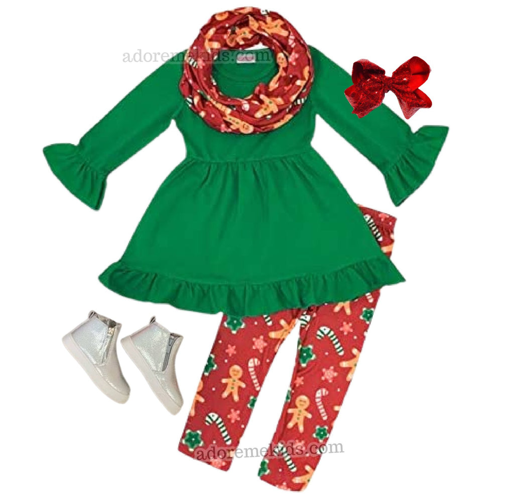 Gingerbread Girls Outfit - Boutique Girls Christmas Clothes - Gingerbread Scarf Set for Baby and Toddlers