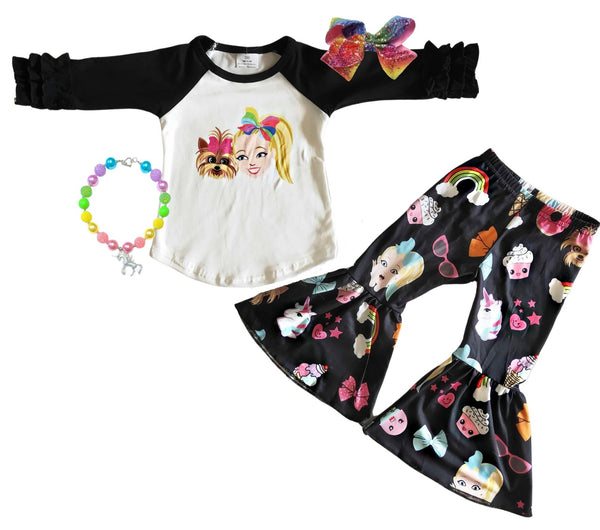 JoJo Siwa Girls Outfit - Nickelodeon JoJo Bell Bottom Pants set - Boutique Fall Winter Clothes for Baby Toddler