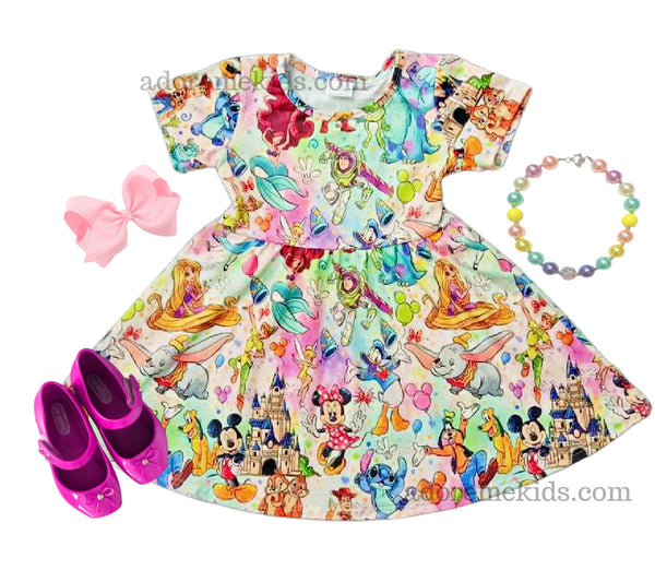Disney Girls Dress  - Rainbow Minnie Mickey Boutique Dress - Summer Girls Clothes with Ariel, Buzz, Stitch and More