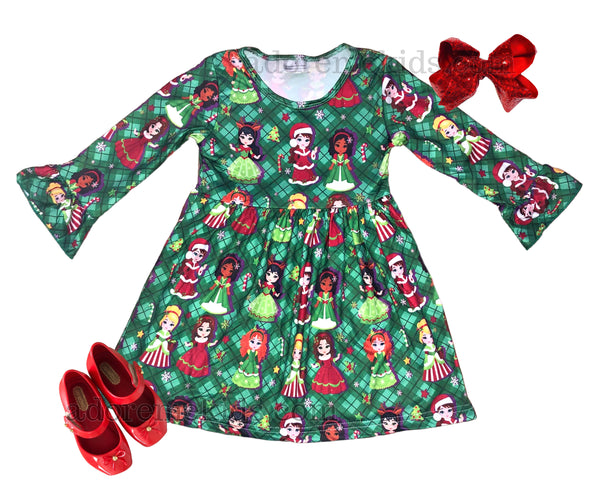 Christmas Princess Girls  Dress - Disney Inspired Girls Christmas Dress - Plaid Green Winter Clothes set for Baby and Toddler