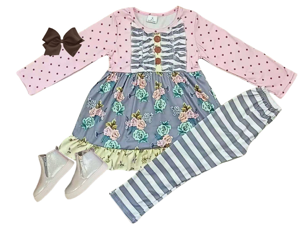 Floral Girls Outfit - Spring FLower Pants set - Boutique Clothes for Baby andToddler