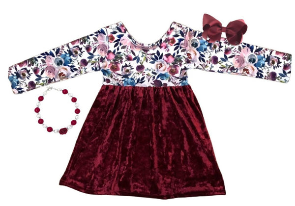 Velvet Flower Girls Dress - Winter Long Sleeve Maroon Dress -  Boutique Christmas Velvet Clothes for Baby and Toddlers