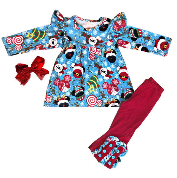 Minnie Mickey Christmas Girls Outfit - Disney Boutique Holiday Clothing for Baby, Toddler and Kids