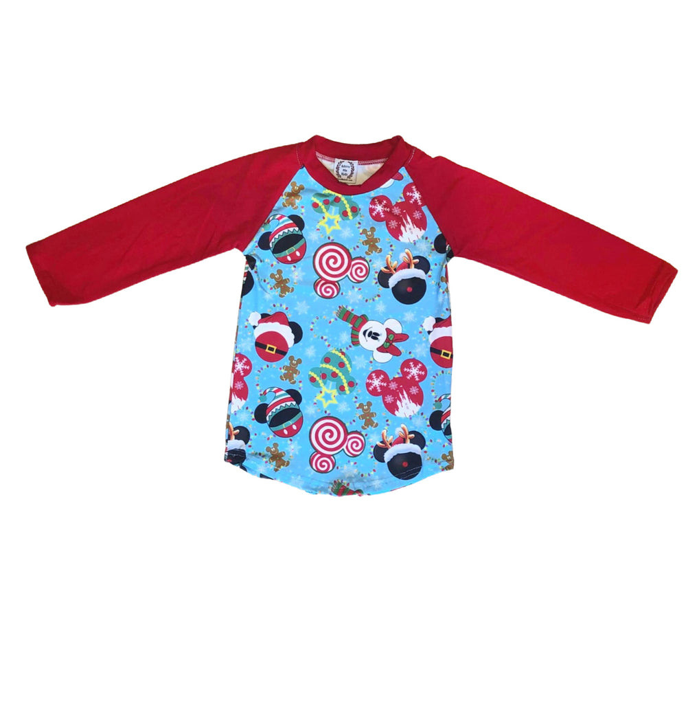 Mickey Christmas Boys Raglan Shirt