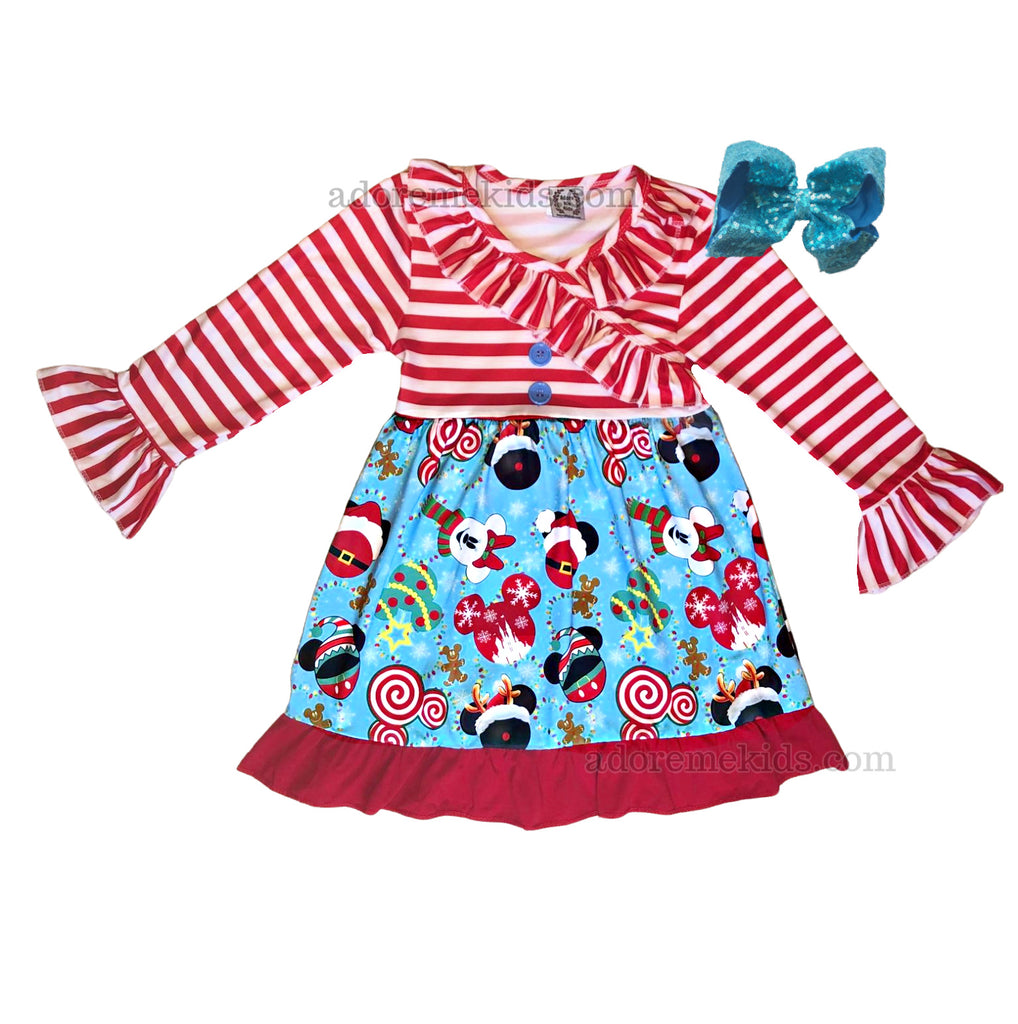 Minnie Mickey Christmas Girls Dress - Disney Boutique Holiday Clothing for Baby, Toddler and Kids