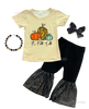 It's Fall Y'all Girls Boutique Outfit - Pumpkin Bell Bottom Girls  Pants Set - Thanksgiving Boutique Clothes for Baby, Toddler and Kids ul