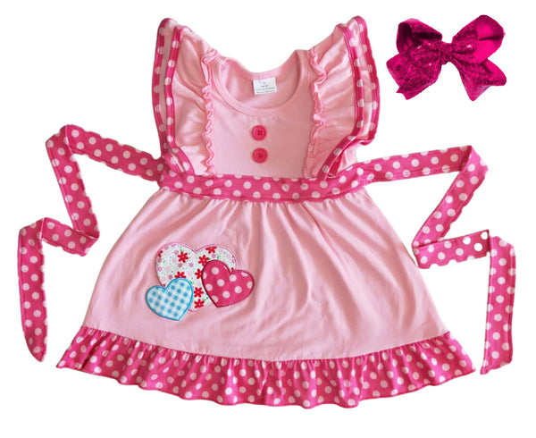 Valentines Girls Dress - Heart Polka Dot Boutique Dress for Baby Toddler and Girls