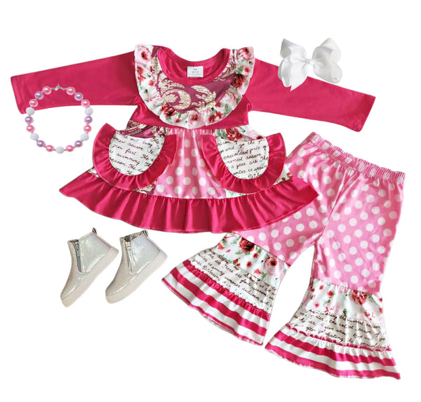 Pink Flower Bell Bottom Girls Outfit -Valentines Boutique Spring Clothes for baby and toddlers