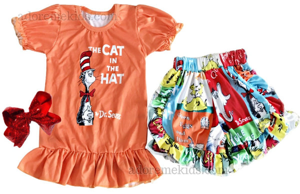 Dr Seuss Girls Outfit - Cat in the Hat Girls Shorts Set - Matching Boutique Clothes for Baby, Toddler and Kids