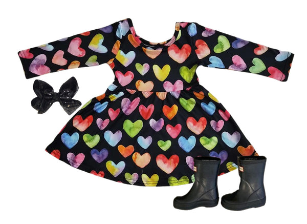 Valentines Girls Dress - Black Heart Boutique Long Sleeve  Dress for Baby Toddler and Girls
