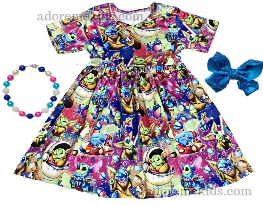 baby yoda dress girls yoda outift star wars clothes the child girls outfit clothes stitch