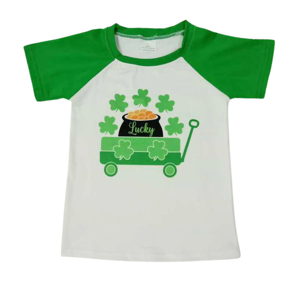 St. Patrick's Day Boys Shirt - Clover Lucky Boutique Clothes for Baby, Toddler and Kids