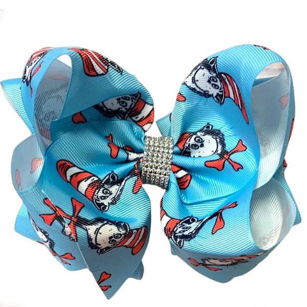 Dr. Seuss Girls Hair Bow  - Big Blue Double Stacked 7in Bow.  - Rhinestone Cat in the Hat Bow for Bab, Toddler and Girls
