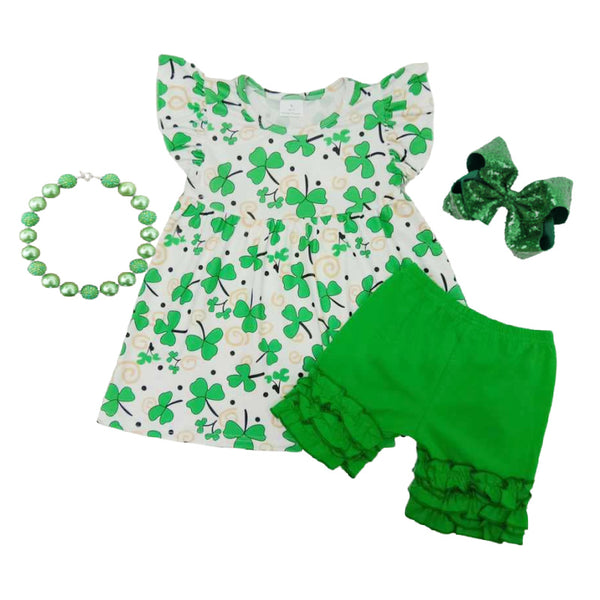 St. Patrick's Day Girls Outfit - Clover Lucky St. Patty's Boutique Clothes for Baby, Toddler and Kids
