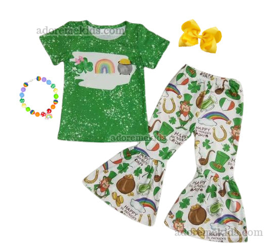 St. Patrick's Day Girls Outfit - Rainbow Clover Bleach Bell Bottom Clothes for Baby, Toddler and Kids