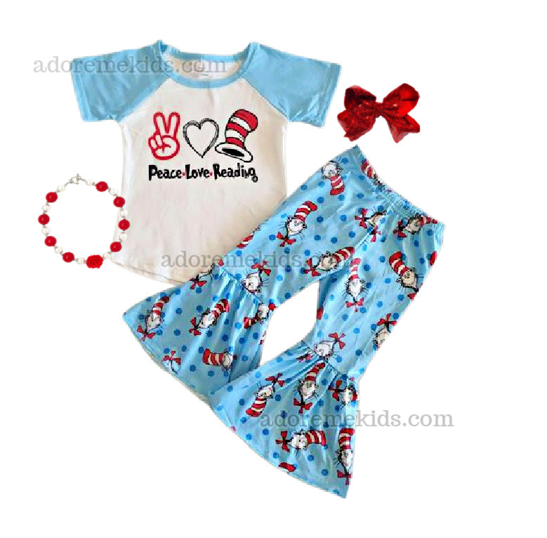 Dr Seuss Girls Boutique Outfit - Peace Love Reading Bell Bottom Girls Pants Set - Cat in the Hat Spring Boutique Clothes for Baby, Toddler and Kids