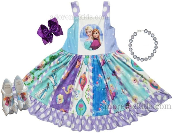 frozen girls dress - annd elsa dress - princess dress disney girl-