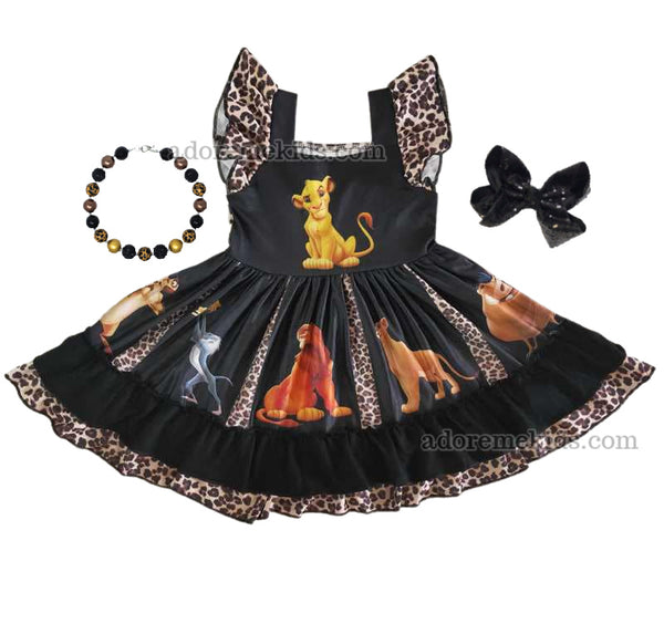 Lion King Girls Dress - Simba Disney Girls Boutique Dress with Twirl Leopard for Girls Baby Toddlers