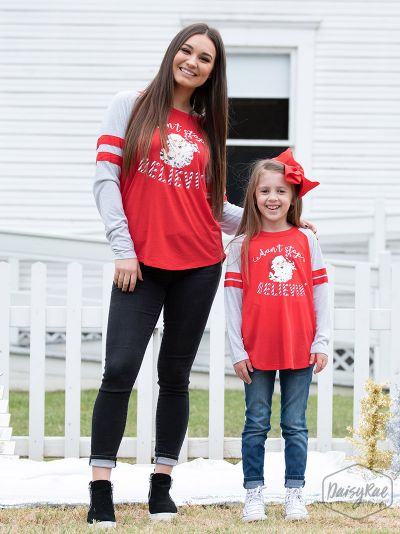 Southern Grace  -  Santa Don't Stop Believin' Adult Shirt Mommy & Me