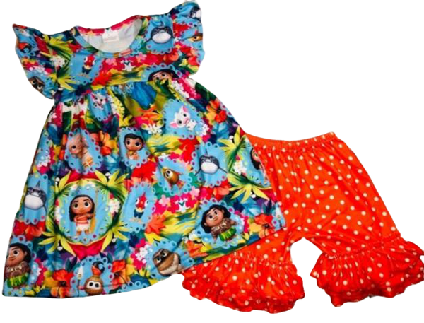 Moana Outfit Girls Boutique Clothes with Polka Dots