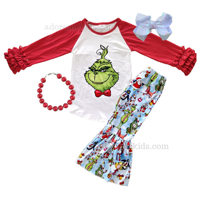 Grinch Girls Outift Boutique Outfit - Christmas Girls Boutique Bell Bottom Pants Set for Baby, Toddler and Kids
